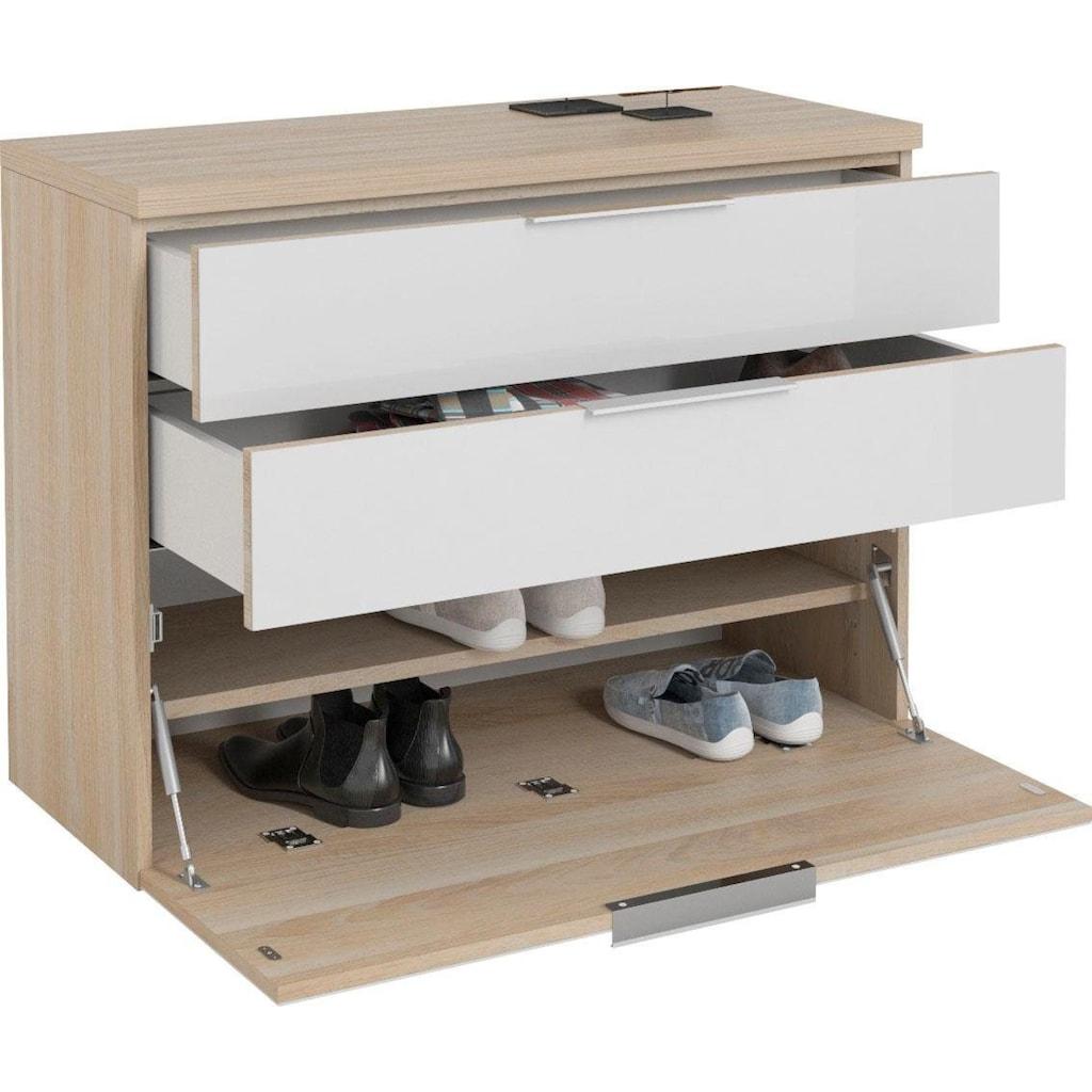 Maja Möbel Hängeschuhschrank »SHINO Garderobe«, Oberplatte in 28mm starkem Holz, Schubladen mit Filzeinlagen