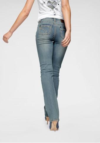 Arizona Gerade Jeans »Kontrastnähte«, Mid Waist kaufen