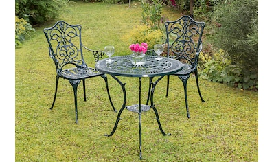 MERXX Gartenmöbelset »Lugano«, 3tlg., 2 Sessel, Tisch Ø 70 cm, Aluminium, grün kaufen