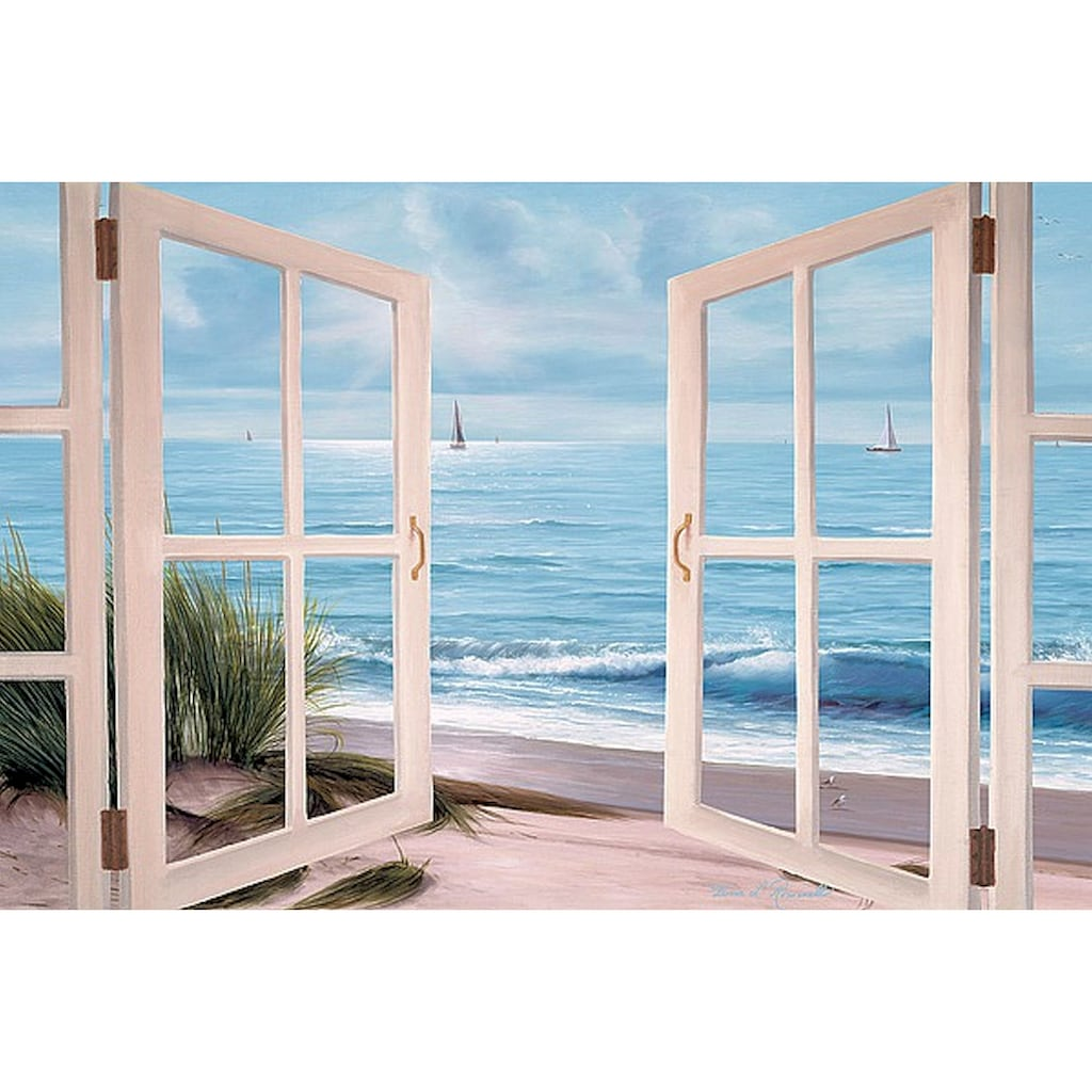 Home affaire Leinwandbild »D. ROMANELLO / Strandläufer vor dem Fenster«, (1 St.)