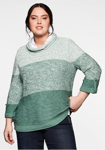 Sheego Rollkragenpullover, mit 3/4-Arm, im Colour-Blocking kaufen