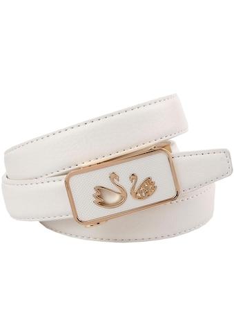 Anthoni Crown Ledergürtel, Traumhafter Automatik Gürtel in weiß mit Schwänen kaufen