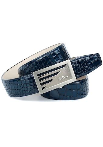 Anthoni Crown Ledergürtel, in Kroko-Design in blau kaufen