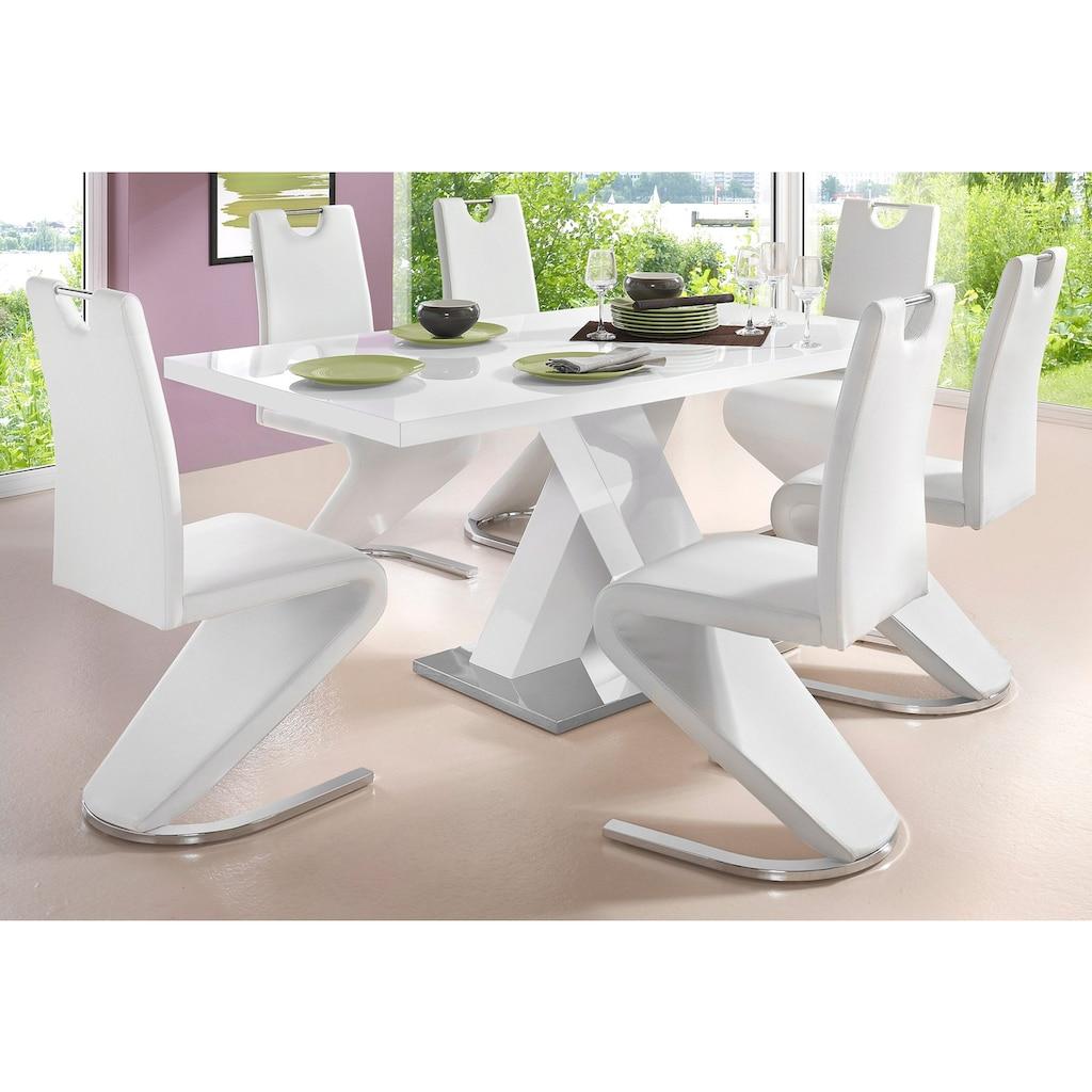 INOSIGN Esstisch »Ali«, Breite 160 cm, weiß Hochglanz, Bodenplatte aus Metall