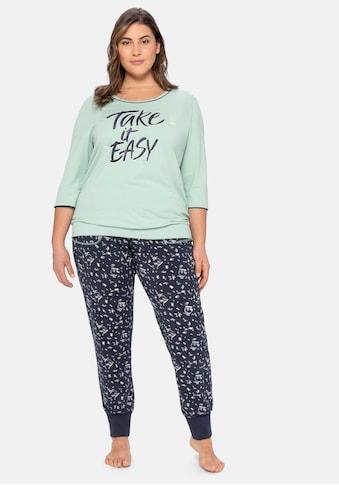 Sheego Pyjama, aus 3/4-Arm-Shirt und langer Hose kaufen
