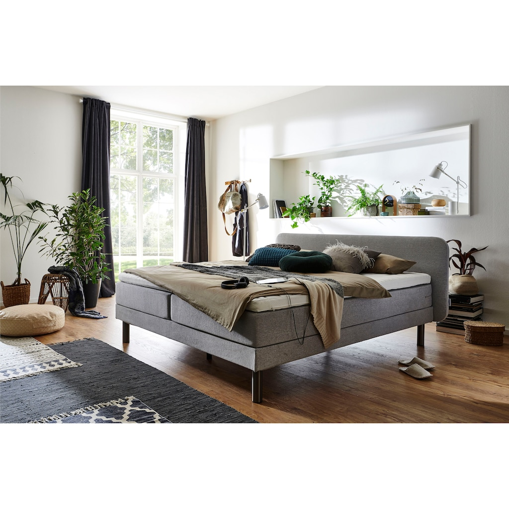 ATLANTIC home collection Boxspringbett, mit 7-Zonen-Taschen-Federkernmatratze und Latex-Topper