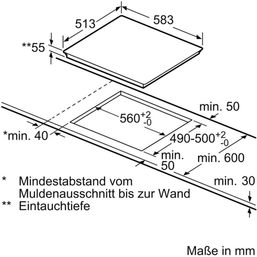 SIEMENS Flex-Induktions-Herd-Set »PQ561DA00«, iQ500, HE579GBS6, mit Teleskopauszug nachrüstbar, Pyrolyse-Selbstreinigung