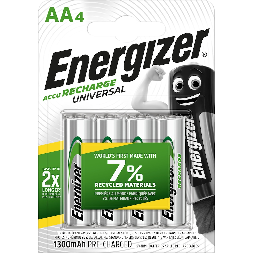 Energizer Akku »NiMH Universal, Mignon (AA), 1300 mAh, vorgeladen 4 Stück«, Mignon, AA