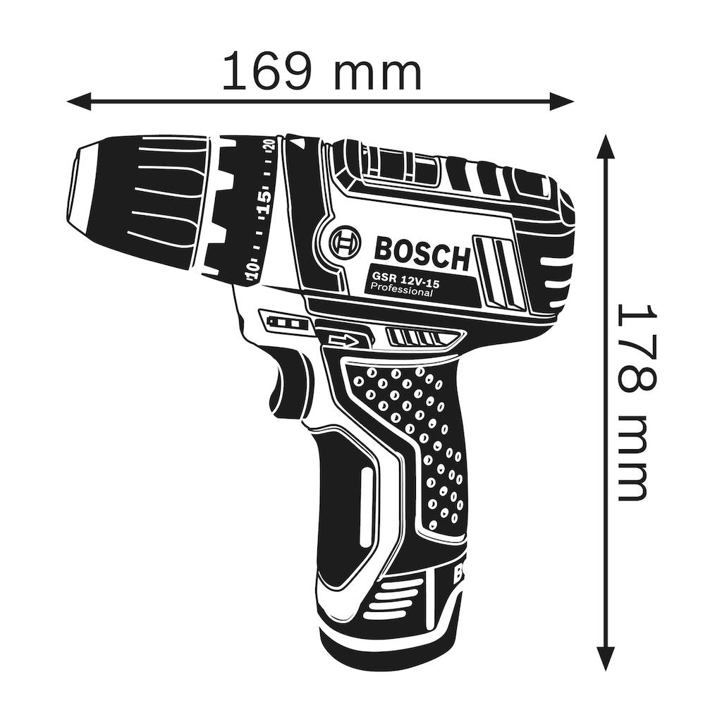 Bosch Professional Akku-Bohrschrauber »GSR 12V-15«, inkl. Koffer, ohne Akku und Ladegerät