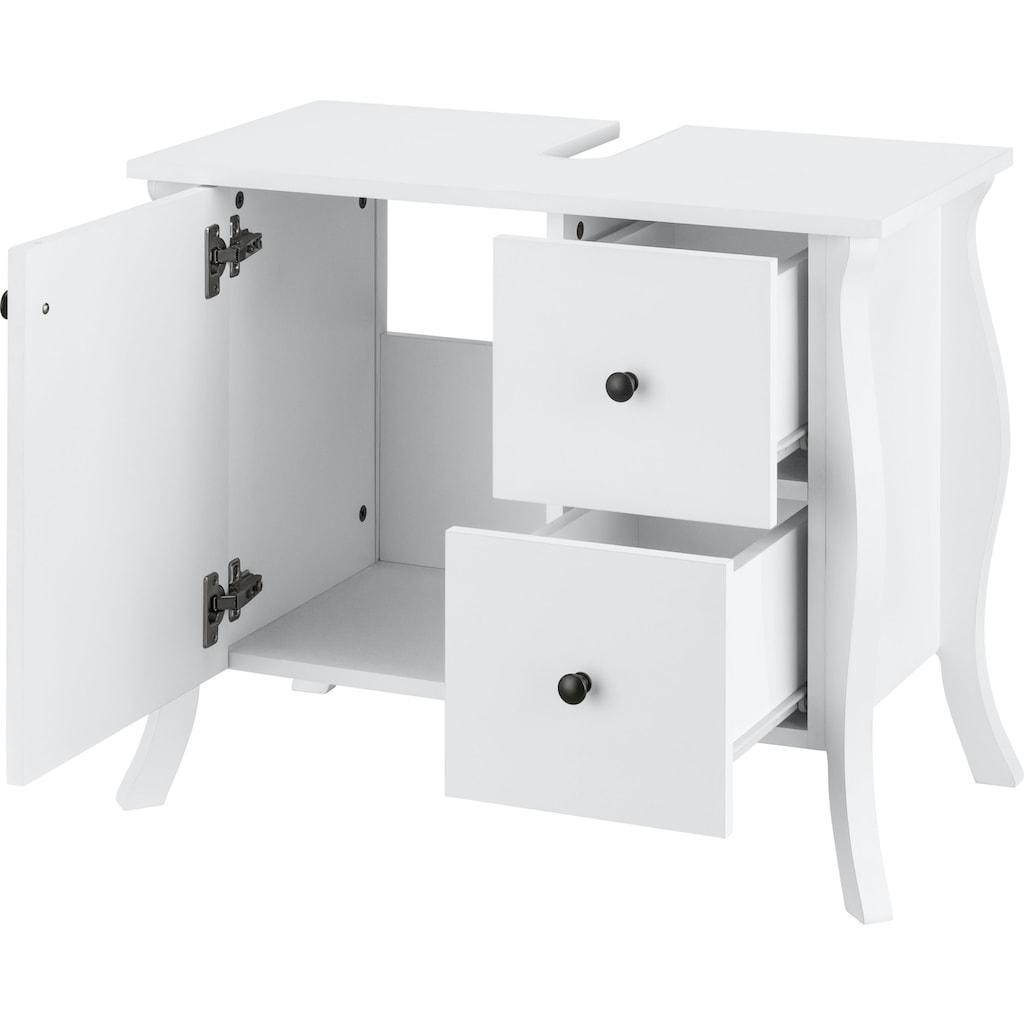 Home affaire Waschbeckenschrank »Ludwig«, mit Griffen aus Metall, Breite 67,5 cm, Höhe 55 cm