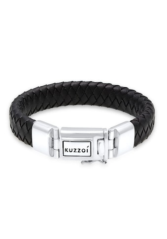 Kuzzoi Armband »Herren Lederarmband Kastenverschluss 925er Silber« kaufen
