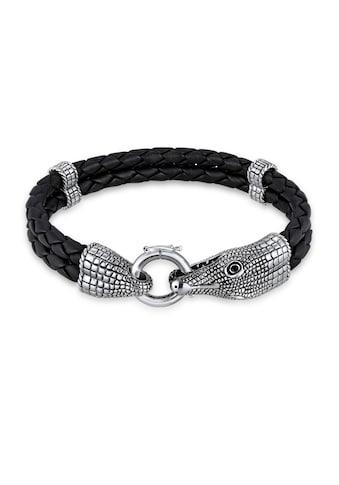 Kuzzoi Armband »Herren Lederarmband Krokodil 925 Sterling Silber« kaufen