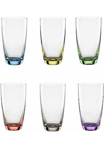 BOHEMIA SELECTION Longdrinkglas »VIVA COLORI«, (Set, 6 tlg.), dekorieter Eisboden,... kaufen