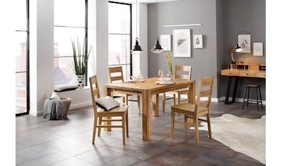 Home affaire Essgruppe »Nils 6«, (Set, 5 St., Tisch 140/90 cm, 4 Stühle, Holzsitz),... kaufen