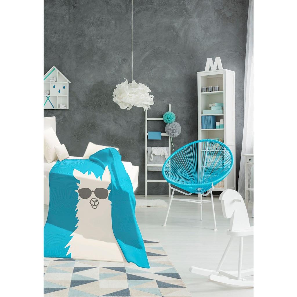 BIEDERLACK Wohndecke »Pretty Cool«, mit einem Lama