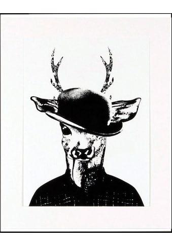 G&C Kunstdruck »Reh in Spaziergang-Kleidung«, 33/43 cm, gerahmt kaufen