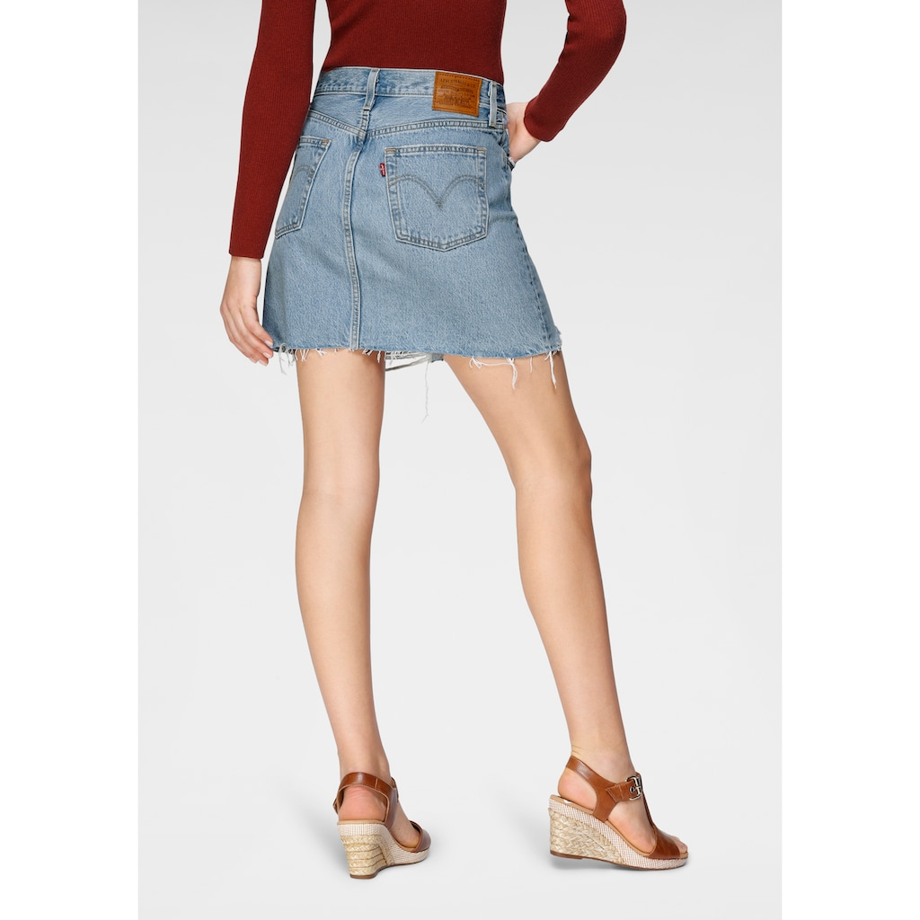 Levi's® Jeansrock »High Rise Iconic Skirt«, Jeansrock mit Fransen und hoher Taille