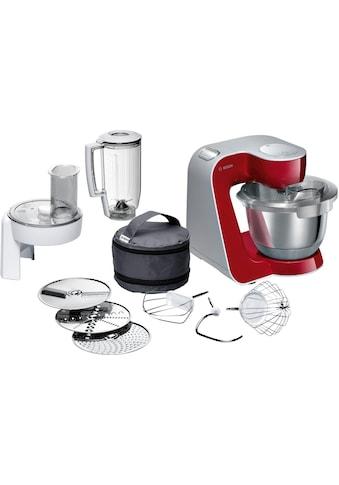 BOSCH Küchenmaschine »MUM5 CreationLine MUM58720«, vielseitig einsetzbar, Durchlaufschnitzler, 3 Reibescheiben, Mixer, deep red/silber kaufen