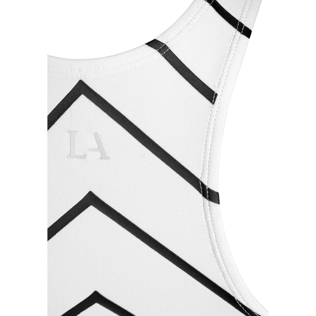 LASCANA ACTIVE Crop-Top, mit Ziernähten und Zickzackstreifen