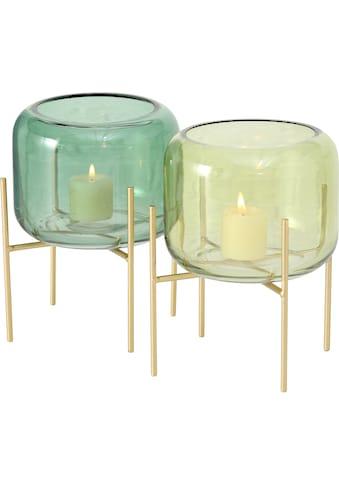 BOLTZE Windlicht »Leona«, aus Glas und Metall, Höhe 19 cm kaufen