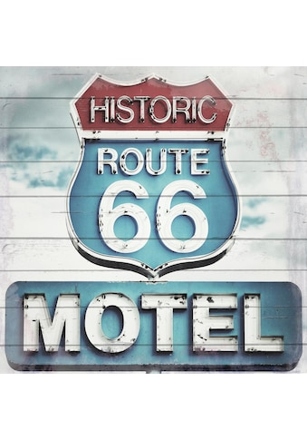 Home affaire Holzbild »Route 66 Motel«, 40/40 cm kaufen