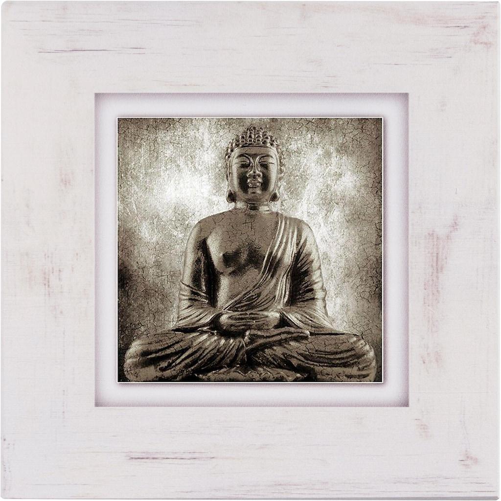Home affaire Holzbild »Sitzender Buddha«, 40/40 cm