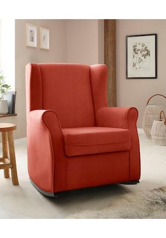 Home affaire Schaukelstuhl »Warin«, mit schönem Luxus-Microfaser Bezug und Holzbeinen, Sitzhöhe 48 cm kaufen