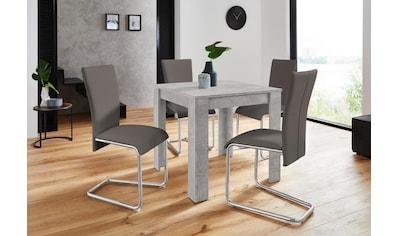Homexperts Essgruppe »Nick1-Mulan«, (Set, 5 tlg.), Tisch in Beton-Optik, Breite 80 cm kaufen