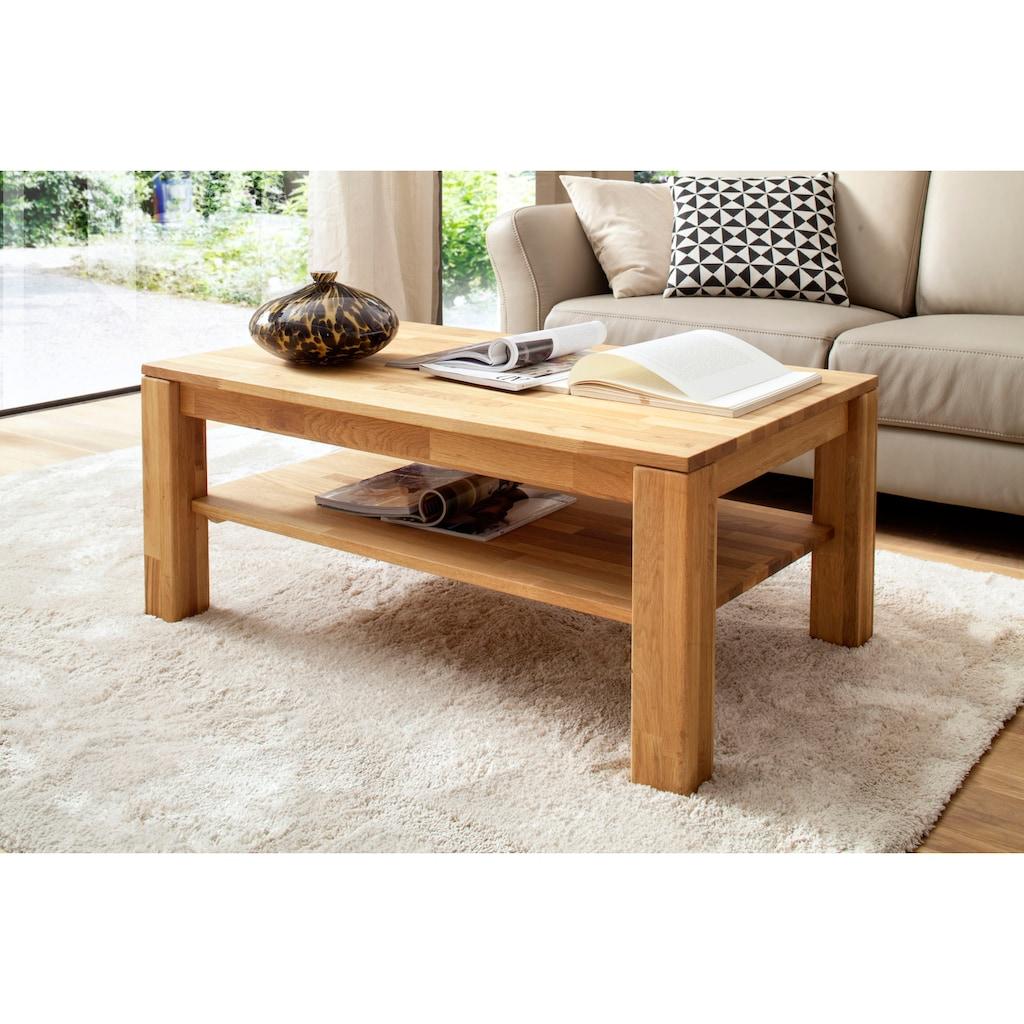 MCA furniture Couchtisch, Couchtisch Massivholz mit Ablage