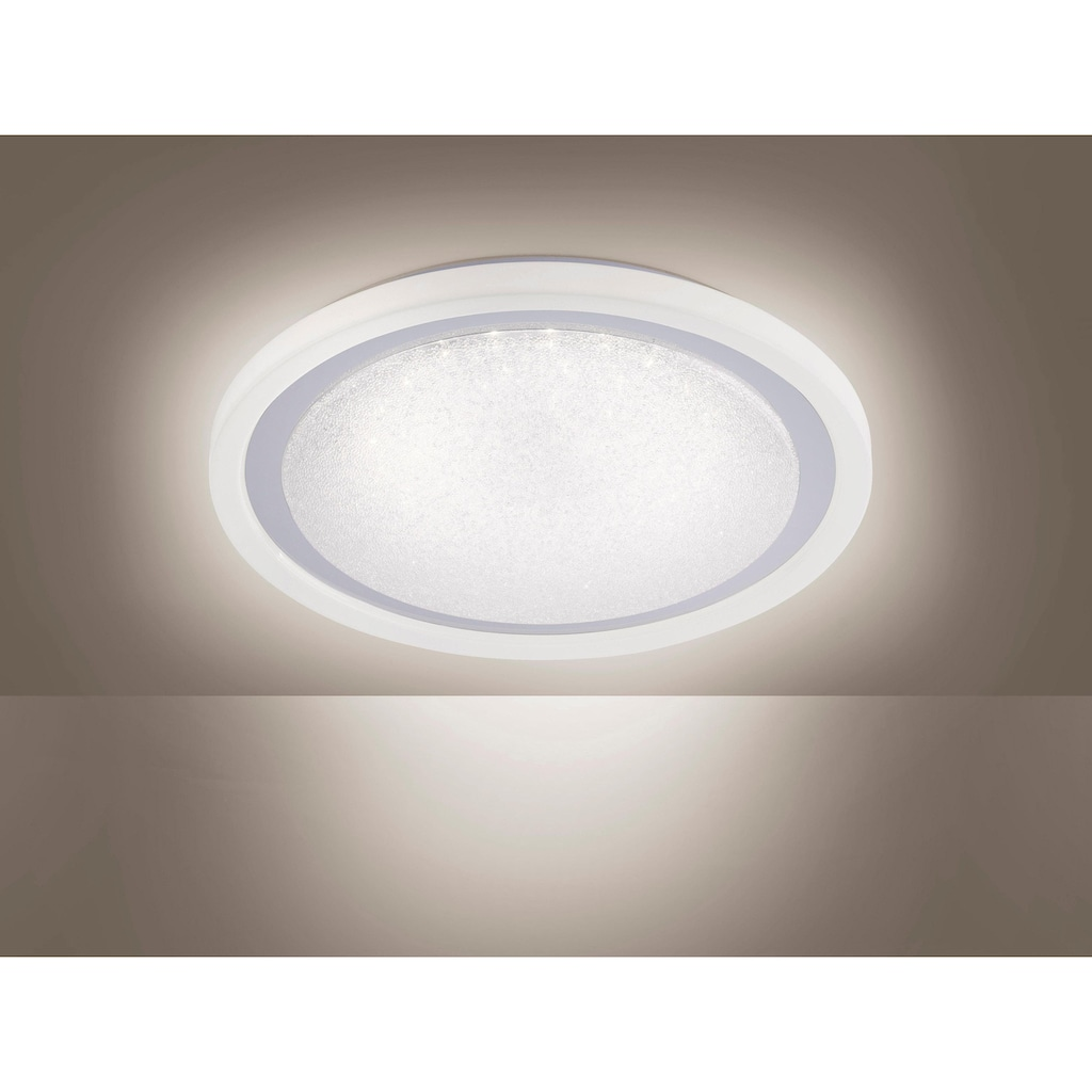 Leuchten Direkt Deckenleuchte »MEDINA«, LED-Board, Warmweiß-Neutralweiß-Tageslichtweiß, CCT - Farbtemperaturregelung (verstellbar von 3000-5000K)|Dimmbar über Fernbedienung|Serienschalter|Memoryfunktion|Sternenhimmeloptik, Ø 40 cm