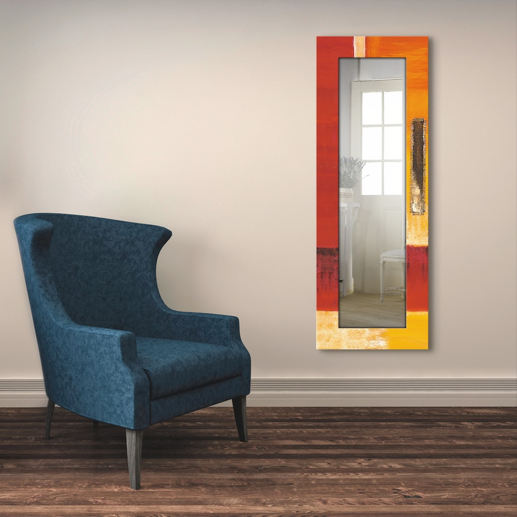 Artland Wandspiegel »Felder I - Abstrakt«, gerahmter Ganzkörperspiegel mit Motivrahmen, geeignet für kleinen, schmalen Flur, Flurspiegel, Mirror Spiegel gerahmt zum Aufhängen