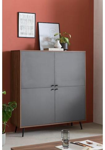 SalesFever Highboard, in moderner Farbkombination von Walnuss und Grau kaufen