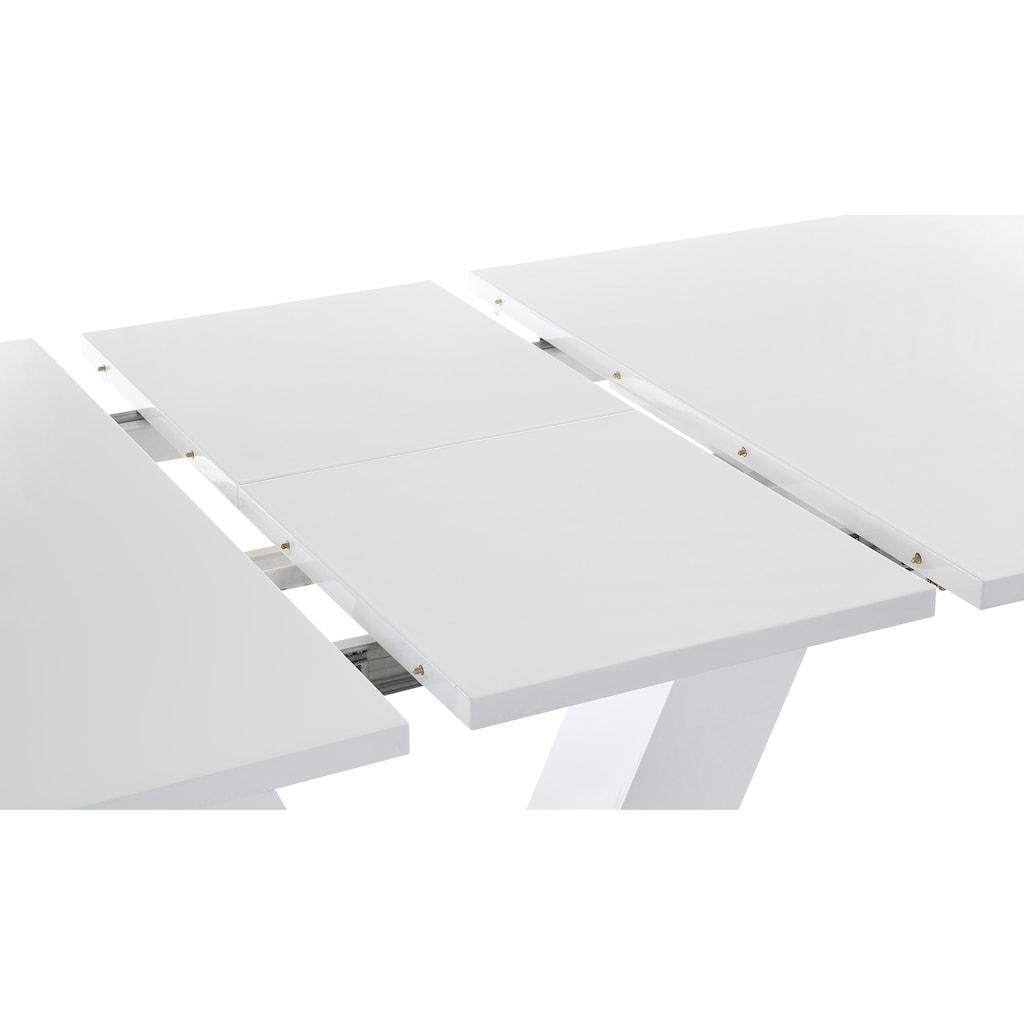 INOSIGN Esstisch »Andy«, mit Auszugsfunktion, 2 Breiten (140-180 cm oder 180-220 cm), weiß Hochglanz