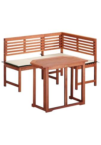 MERXX Gartenmöbelset 4 - tlg., Eckbank, Tisch 90x60 cm, klappbar, Eukalyptus, braun kaufen