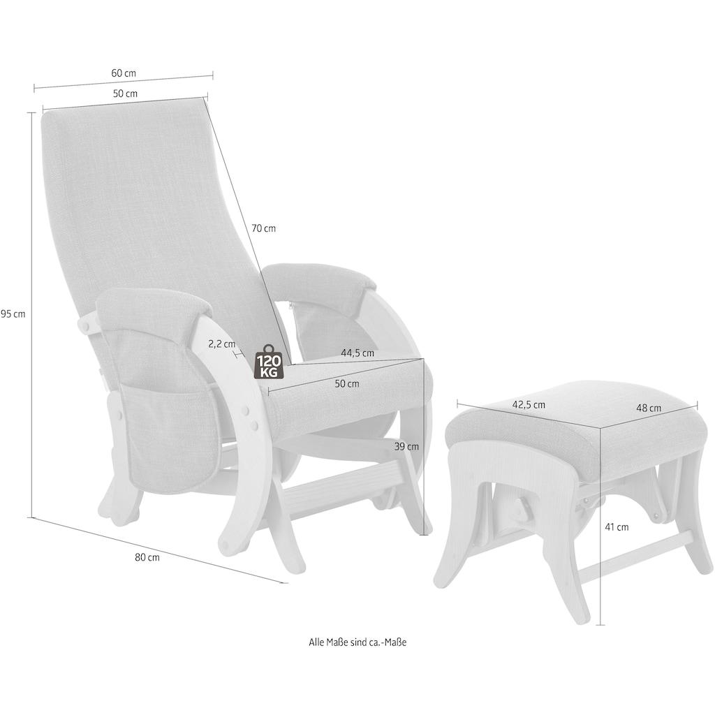 ATLANTIC home collection Schaukelsessel »Erik«, mit Schaukelfunktion, 2 Seitentaschen inklusive, Naturholz-Furnier, wahlweise mit oder ohne Hocker