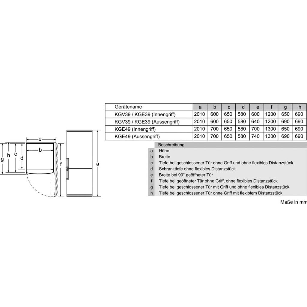 SIEMENS Kühl-/Gefrierkombination, KG39EAWCA, 201 cm hoch, 60 cm breit