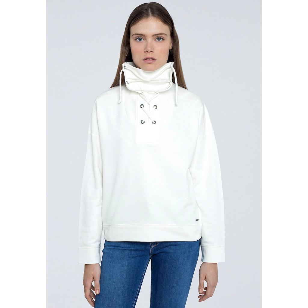 Pepe Jeans Sweater »BAHIRA«, mit großem Kragen zum Binden
