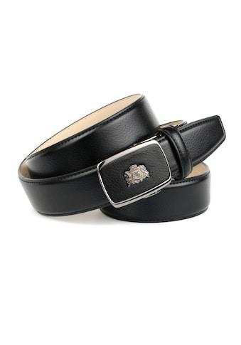 Anthoni Crown Ledergürtel, mit silberfarbenem Metallwappen kaufen
