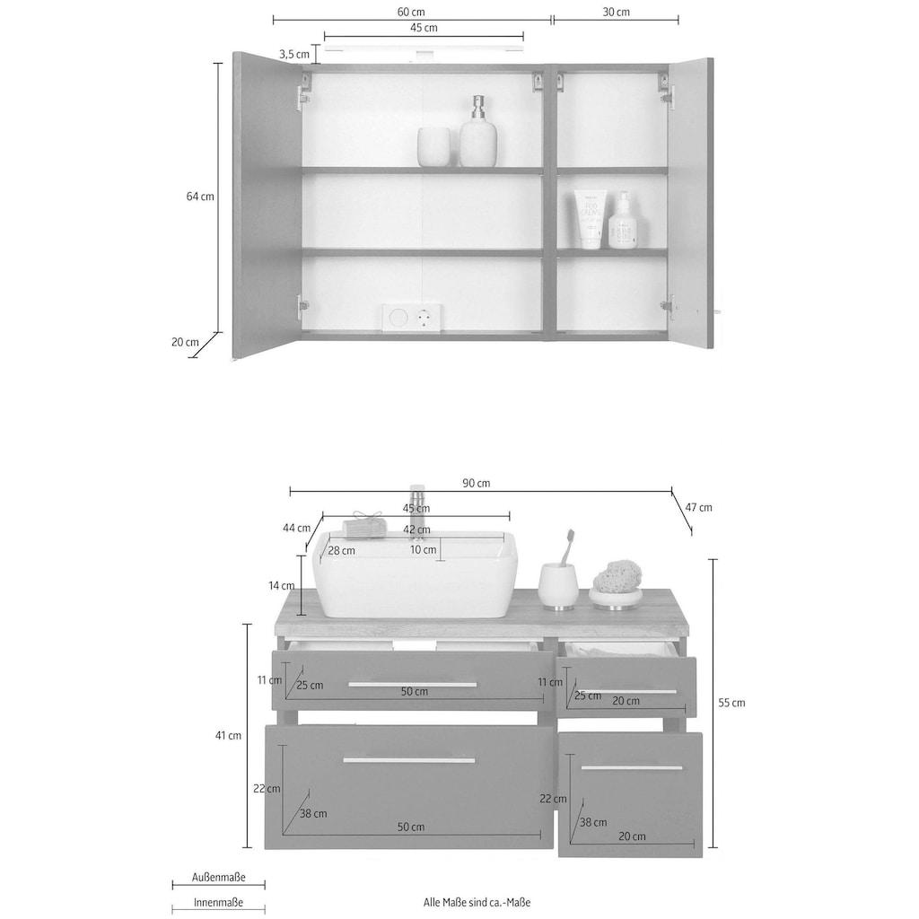 HELD MÖBEL Badmöbel-Set »Davos«, (3 St.), Breite 50 cm, mit extra Regal