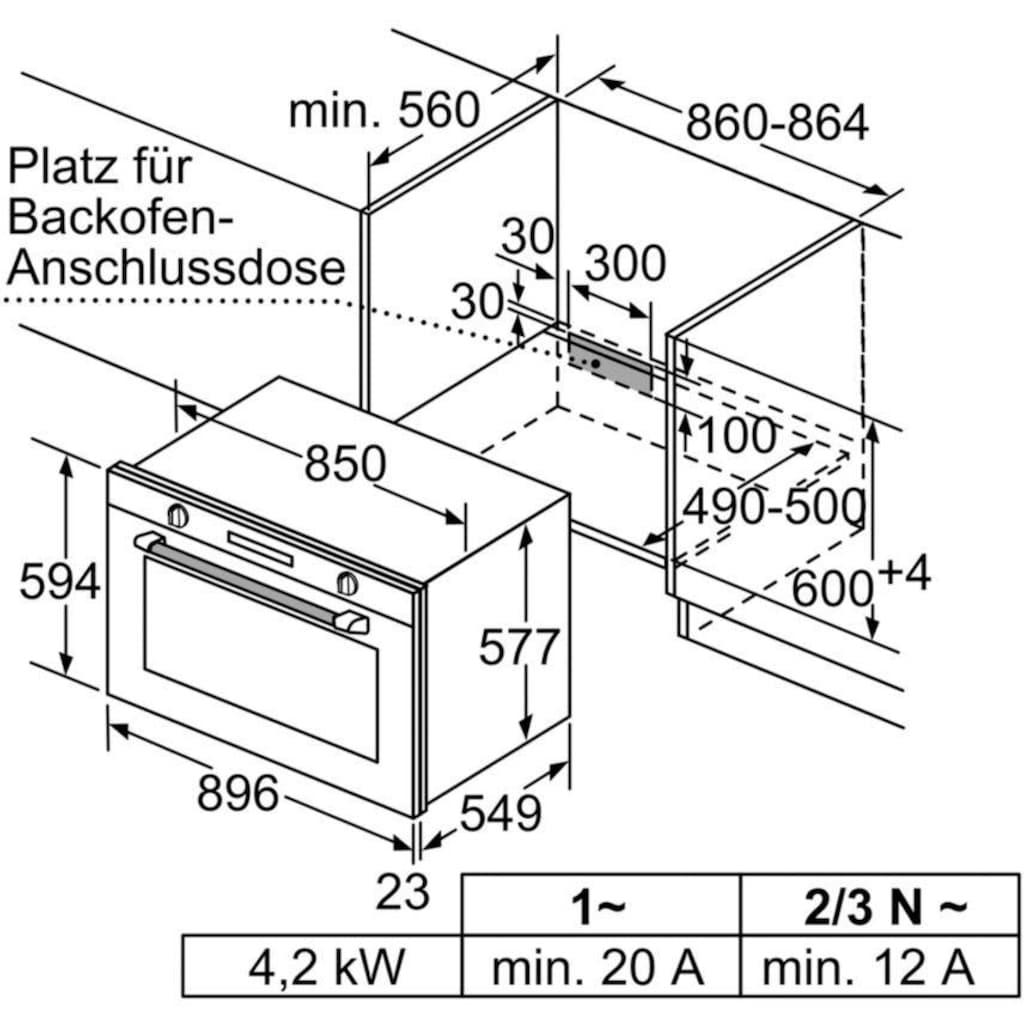 SIEMENS Einbaubackofen »VB578D0S0«, iQ500, VB578D0S0, mit 1-fach-Teleskopauszug, touchControl