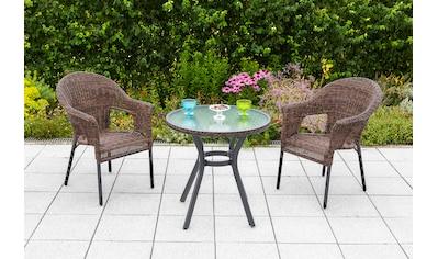 MERXX Gartenmöbelset »Ravenna«, 3tlg., 2 Sessel, Tisch, stapelbar, Polyrattan kaufen