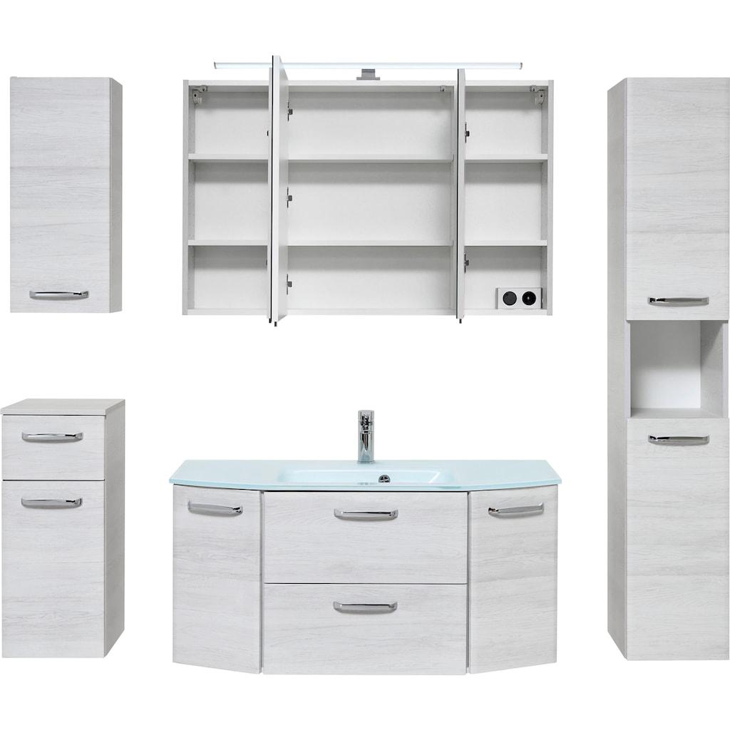 PELIPAL Badmöbel-Set »Quickset 936«, (Set, 5 St.), Spiegelschrank inkl. LED-Beleuchtung, Waschtisch-Kombination mit Glasbecken, Metallgriffe, Türdämpfer