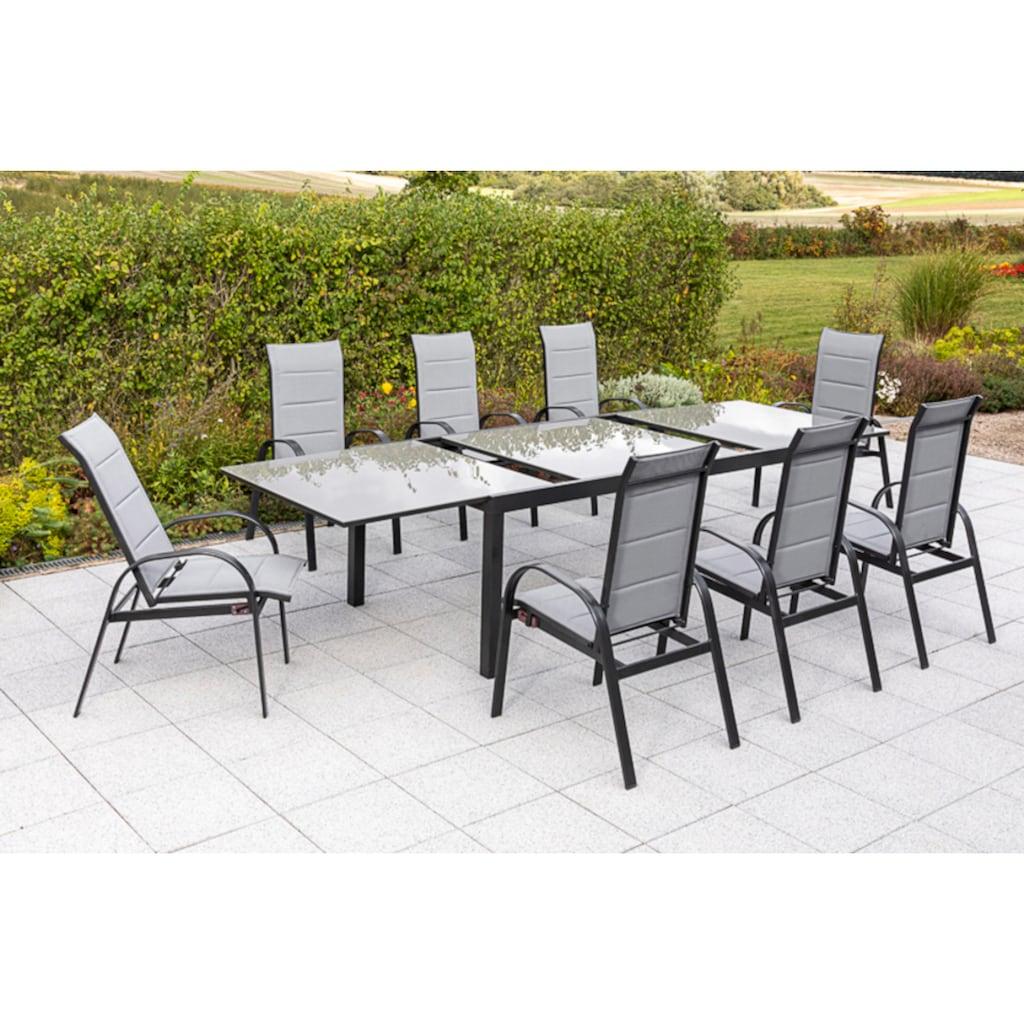MERXX Gartenmöbelset »Marini«, (9 tlg.), 8 Klappsessel, ausziehbarer Tisch
