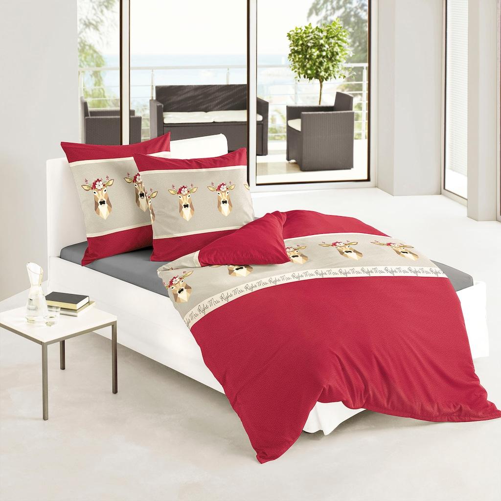 BIERBAUM Bettwäsche »Red Deer«, mit Rehen und Schriftzügen