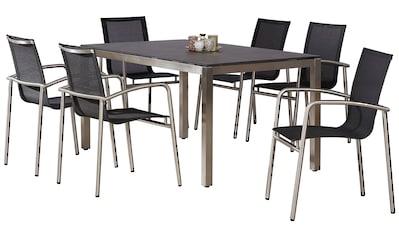 BEST Gartenmöbelset »Khartum«, 6 Sessel, Tisch 160x90 cm kaufen