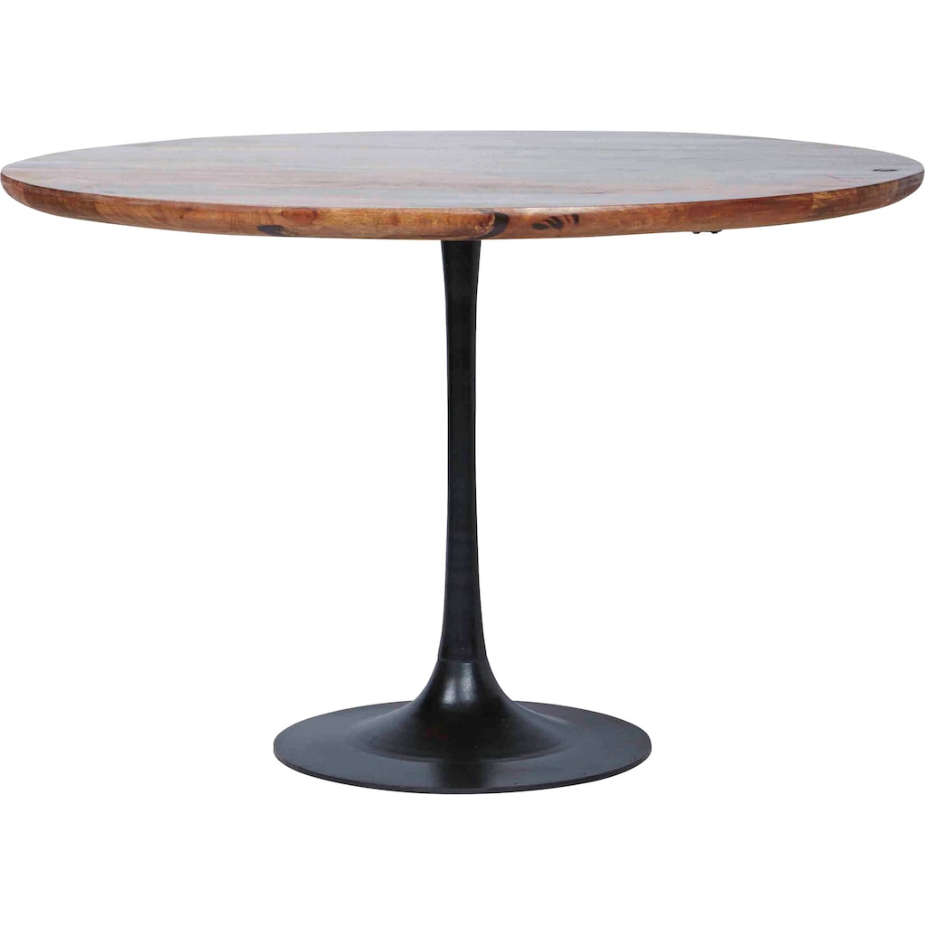TOM TAILOR Esstisch »T-MODERN TABLE ROUND«, aus Mangoholz, Knopfdetail, Moderne Eleganz durch abgerundete Kante