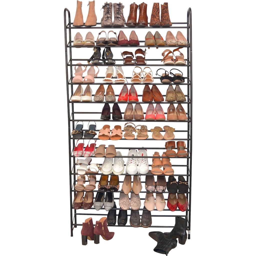 Schuhregal, aus Metall, Breite 100 cm, Höhe 187 cm, Platz für ca. 60 Paar Schuhe