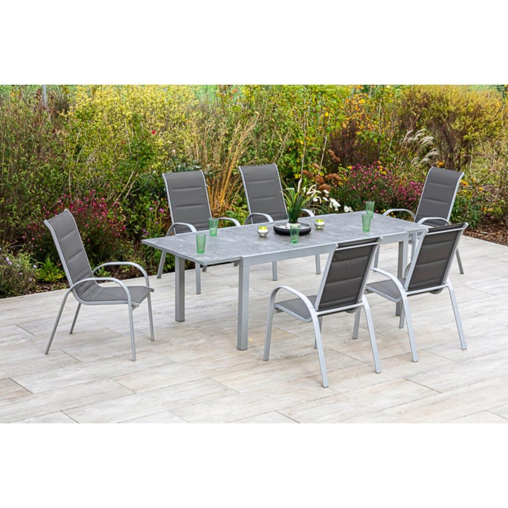 MERXX Gartenmöbelset »Amalfi di lusso«, (7 tlg.), 6 Stapelsessel, Hochlehner mit ausziehbarem Tisch