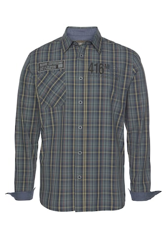Man's World Langarmhemd, Hochwertige Applikationen auf der Brust kaufen