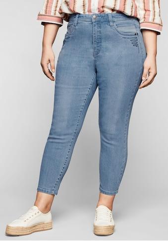 Sheego Stretch-Jeans, in 7/8-Länge, mit Stickerei vorn kaufen